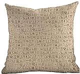 DKISEE Modischer Überwurf-Kissenbezug, Ägyptische, altdatierte Hieroglyphen, handgeschriebene Bordüren mit abgenutztem Look, Hellbraun, für Schlafsofa 66 x 66 cm