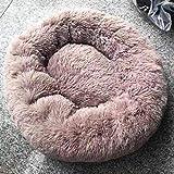 GGZX BeruhigendesHundebettRundeHundematten Warme Beruhigende Flauschige Katzenmatratze Liege Schlafsofa für mittelgroße Hunde Atmungsaktive Hundehütte, Hellbraun, 50cm