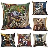LightInTheBox 6er-Set Kissenbezüge Aus Weicher Baumwolle und Leinen Decken Kissen ab Dekoration für Schlafsofa Bett Home Car Picasso Style Ölgemälde mit Reißverschluss 45x45cm