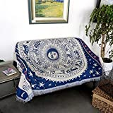 BoaInx Weiche Schlafsofa Decke Baumwolle mit Fischgrätmuster Design Natürliche und Sofa-Bett Sofa Wurf Für Sofa Schlafzimmer (Color : White Constellation, Size : 180X300cm)