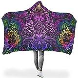 NA Lotus Eyes Yoga Blume Rosa Sonnengesicht Mit Kapuze Decke Wurfmantel Warmes Buntes Cape für Frauen Mann Student Kinder Weich Teen Erwachsener Auf Schlafsofa